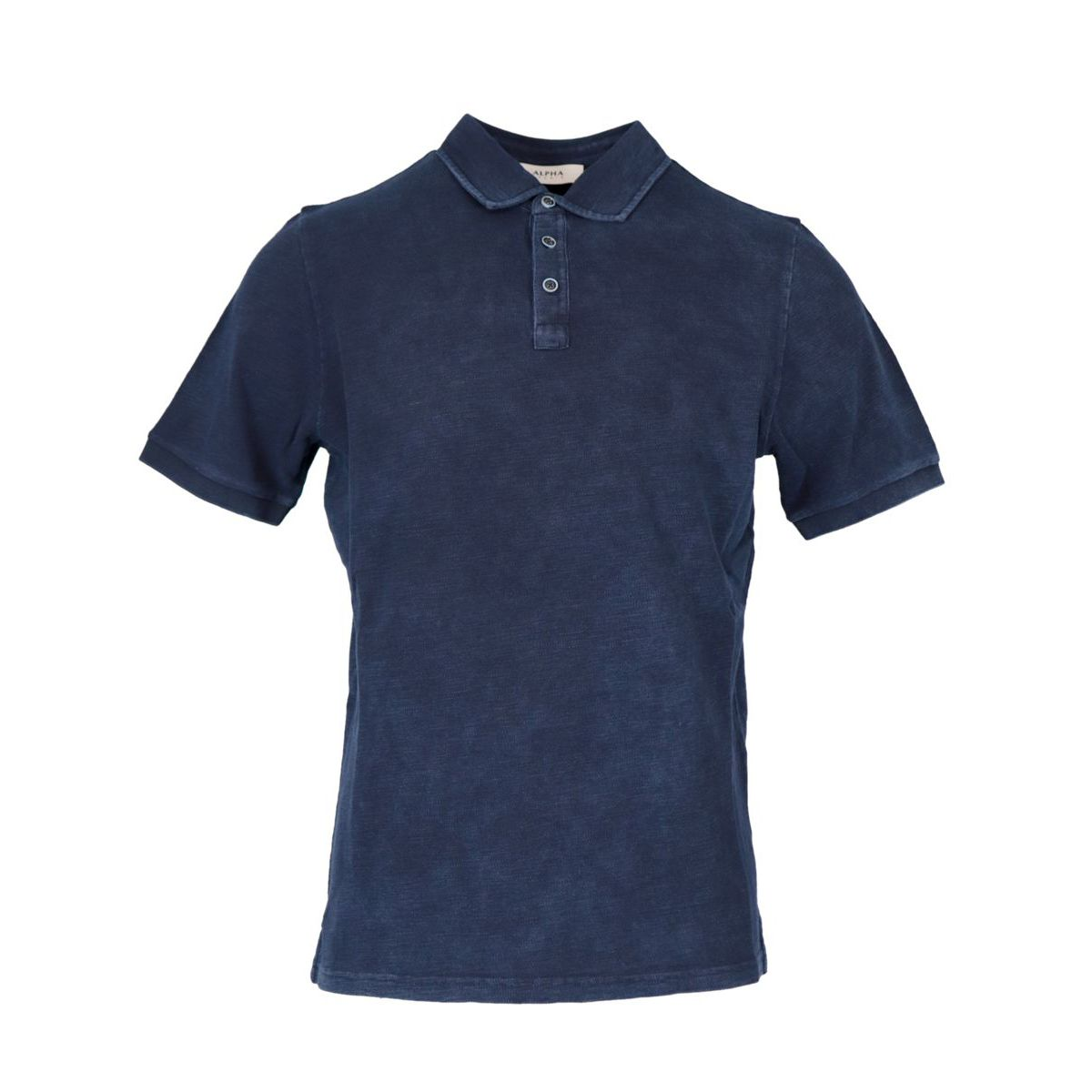 Short sleeve polo shirt in washed cotton Blue Alpha Studio