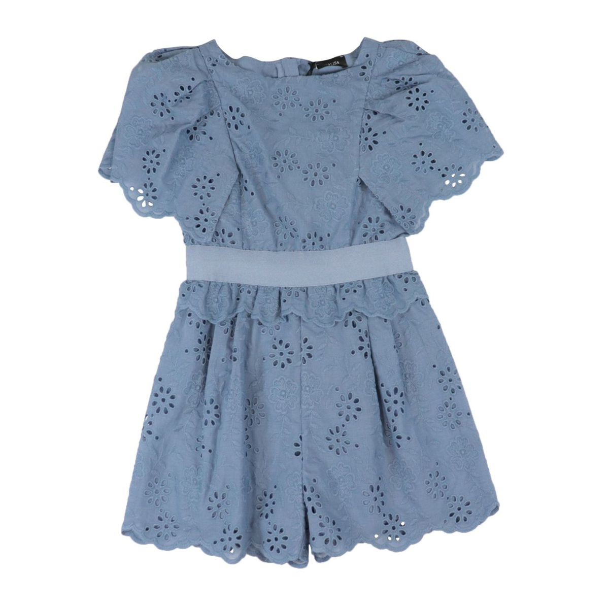 Short cotton jumpsuit with sangallo embroidery Avio Monnalisa