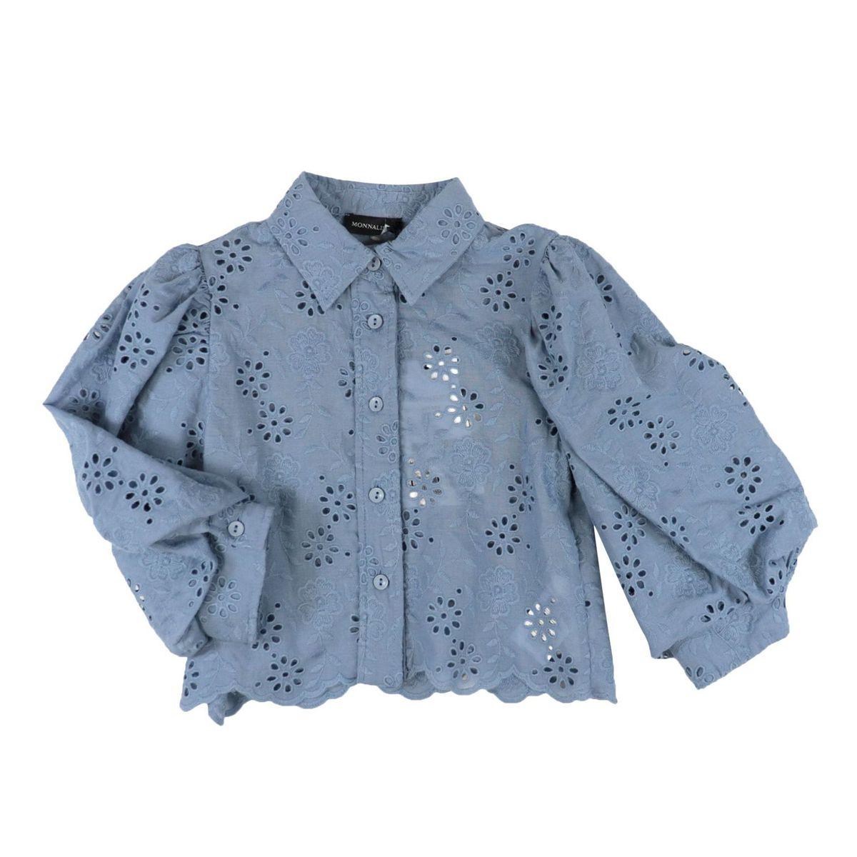 Cotton shirt with sangallo embroidery Avio Monnalisa