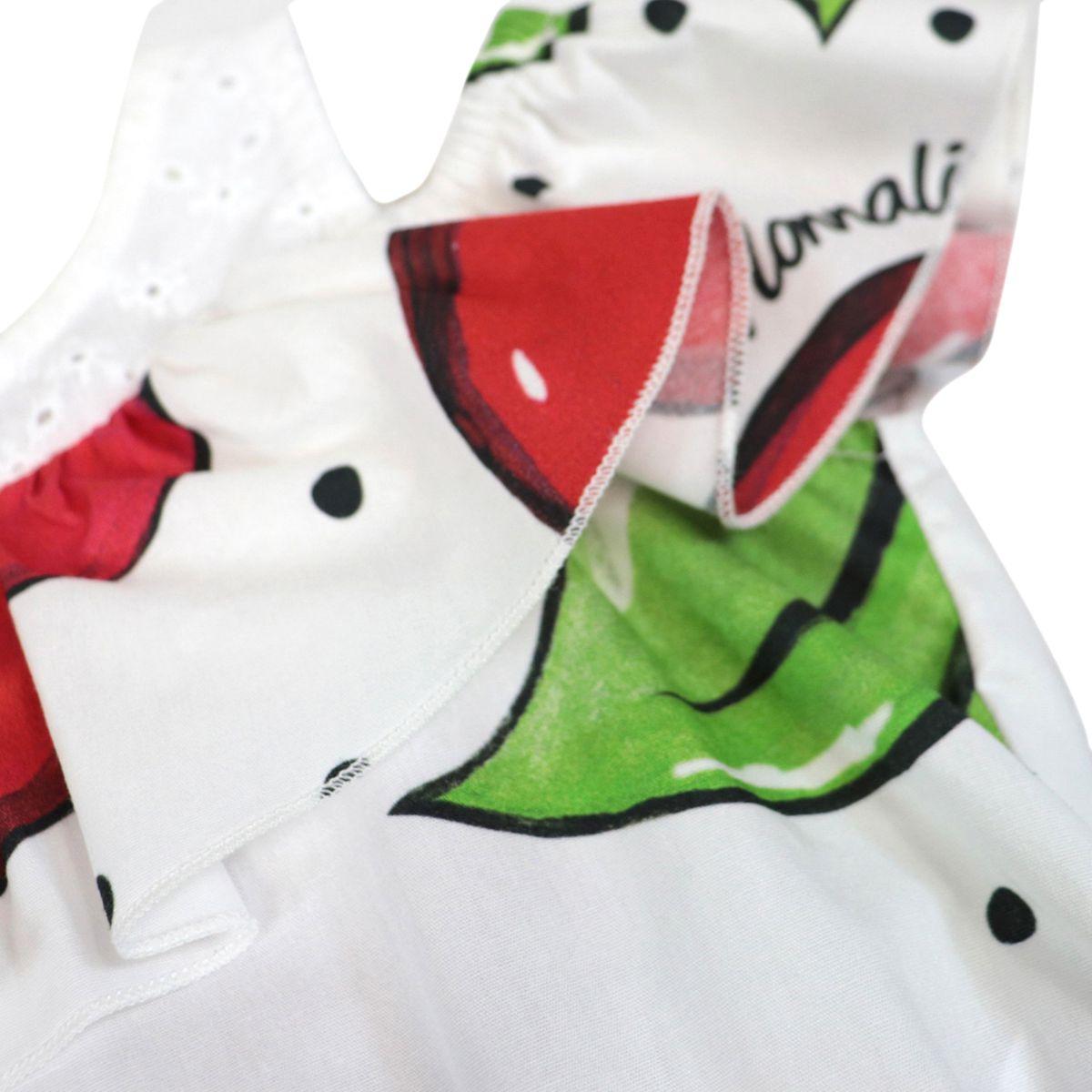 Short cotton jumpsuit with maxi cherry print White Monnalisa