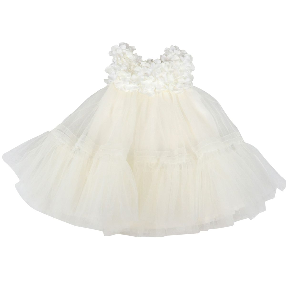 Cotton and tulle dress with applied flowers Cream Monnalisa