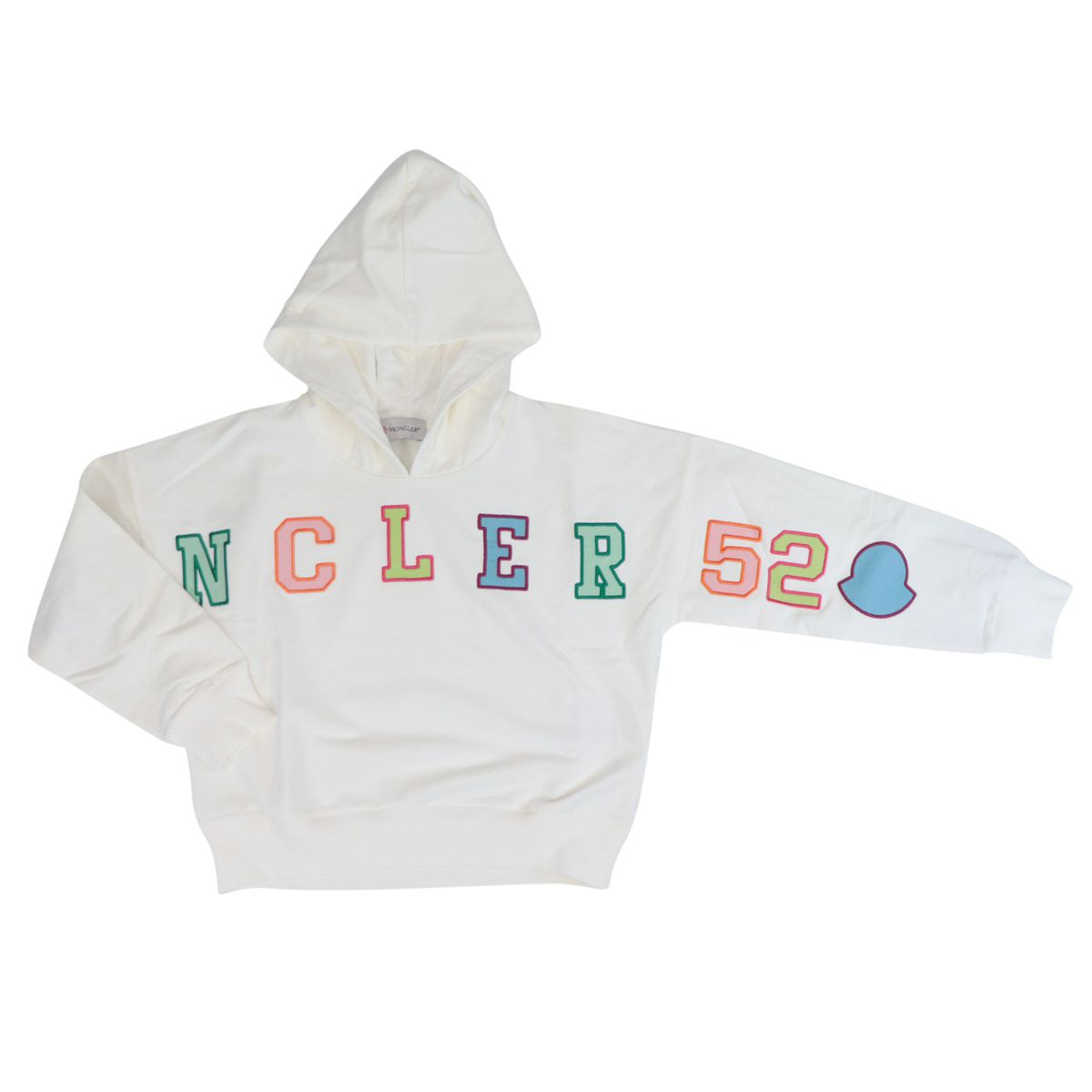 Cotton sweatshirt with hood and front multicolor logo White Moncler