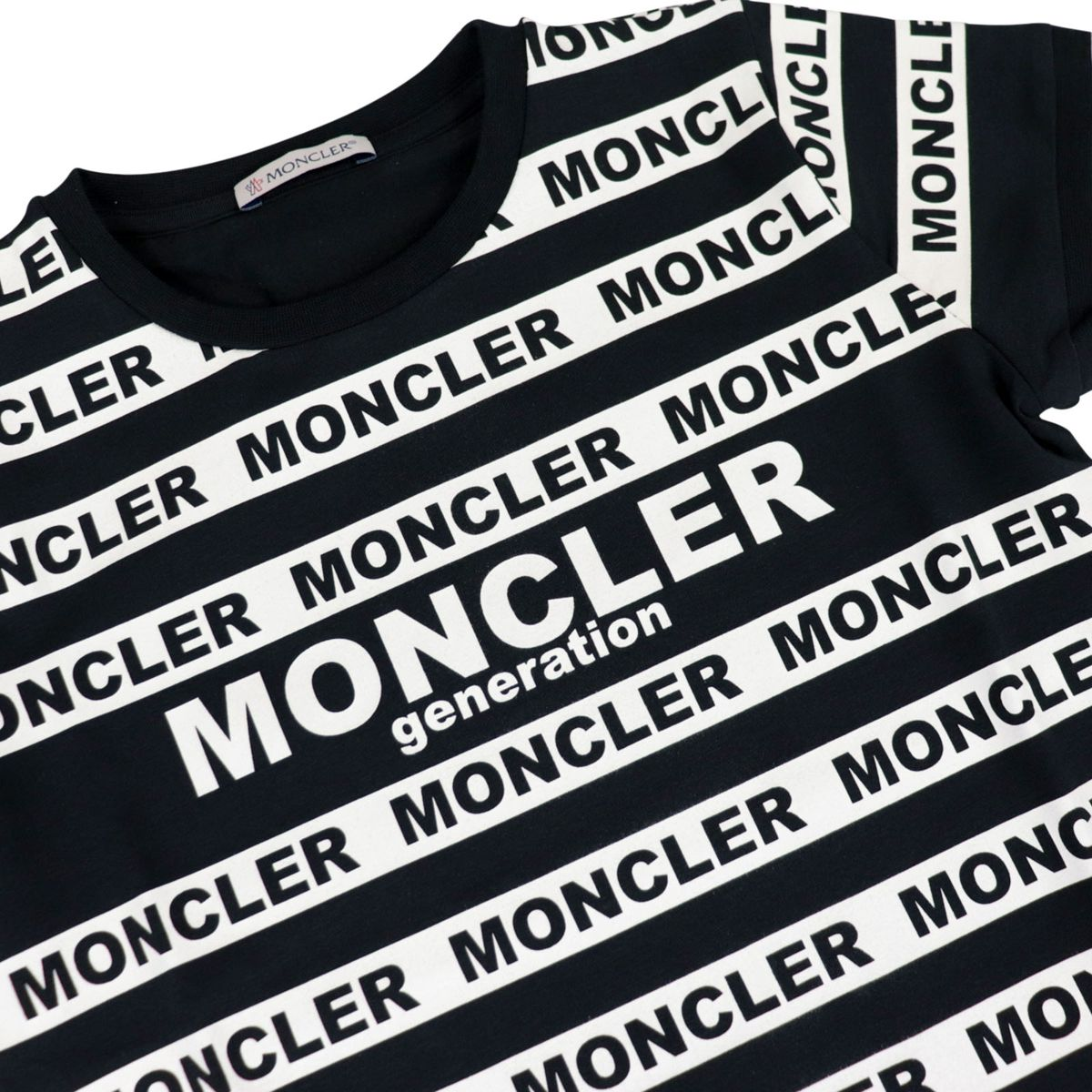 Crew-neck t-shirt in stretch cotton with logoed stripes Black Moncler