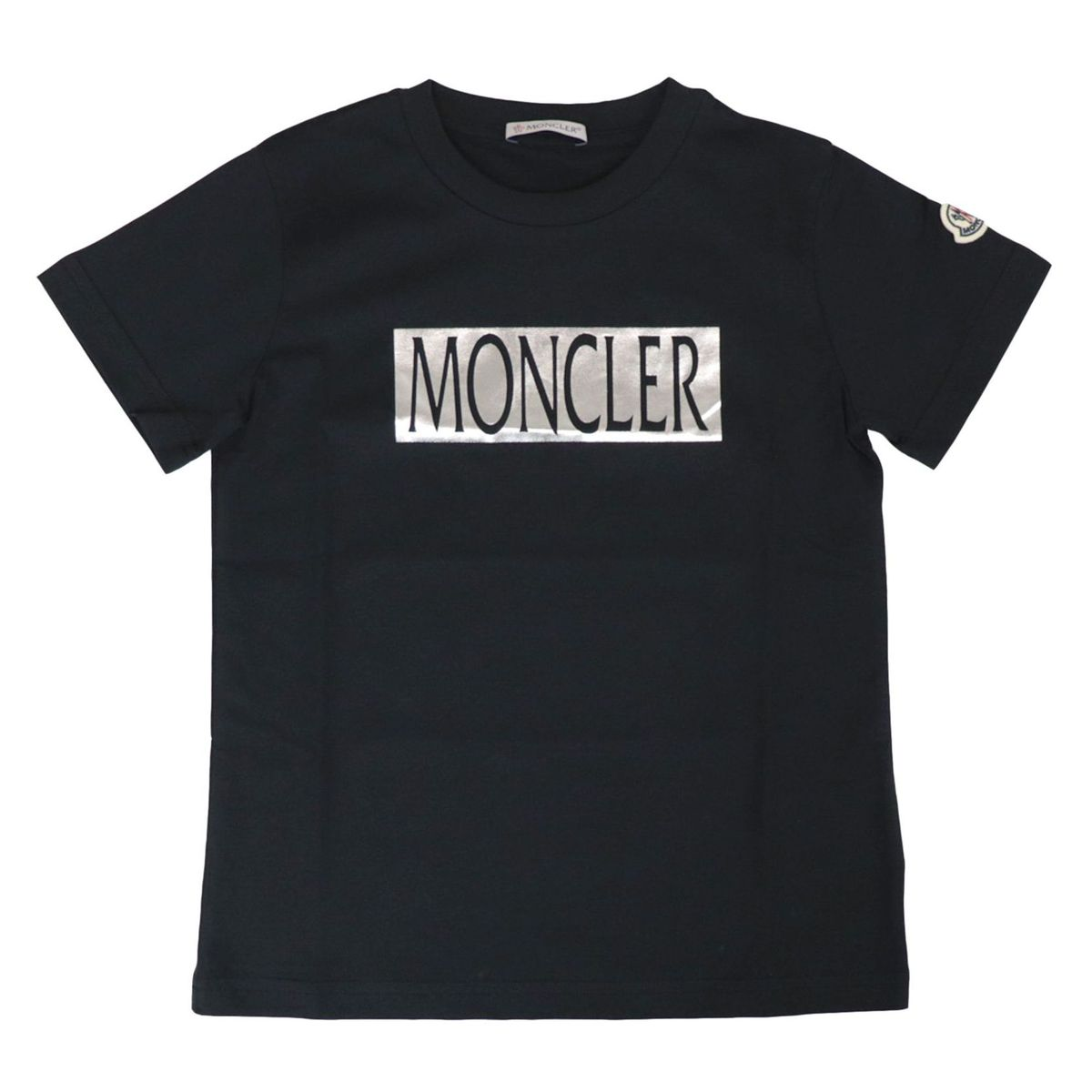 Short-sleeved cotton T-shirt with laminated logo print Black Moncler