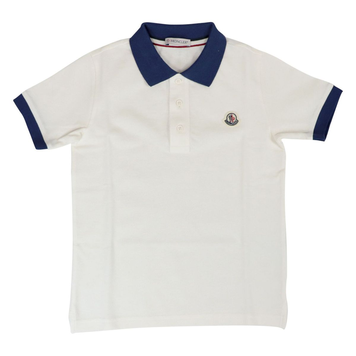Cotton piquet polo shirt with contrast collar White Moncler