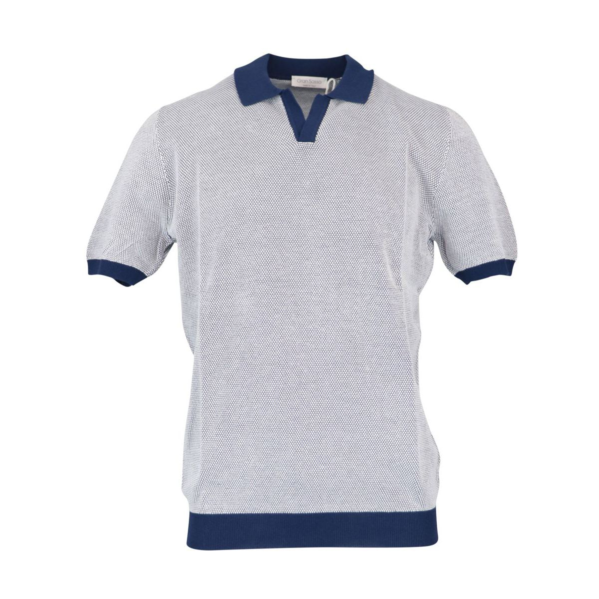 Cotton polo shirt with contrasting piping Blue Gran Sasso