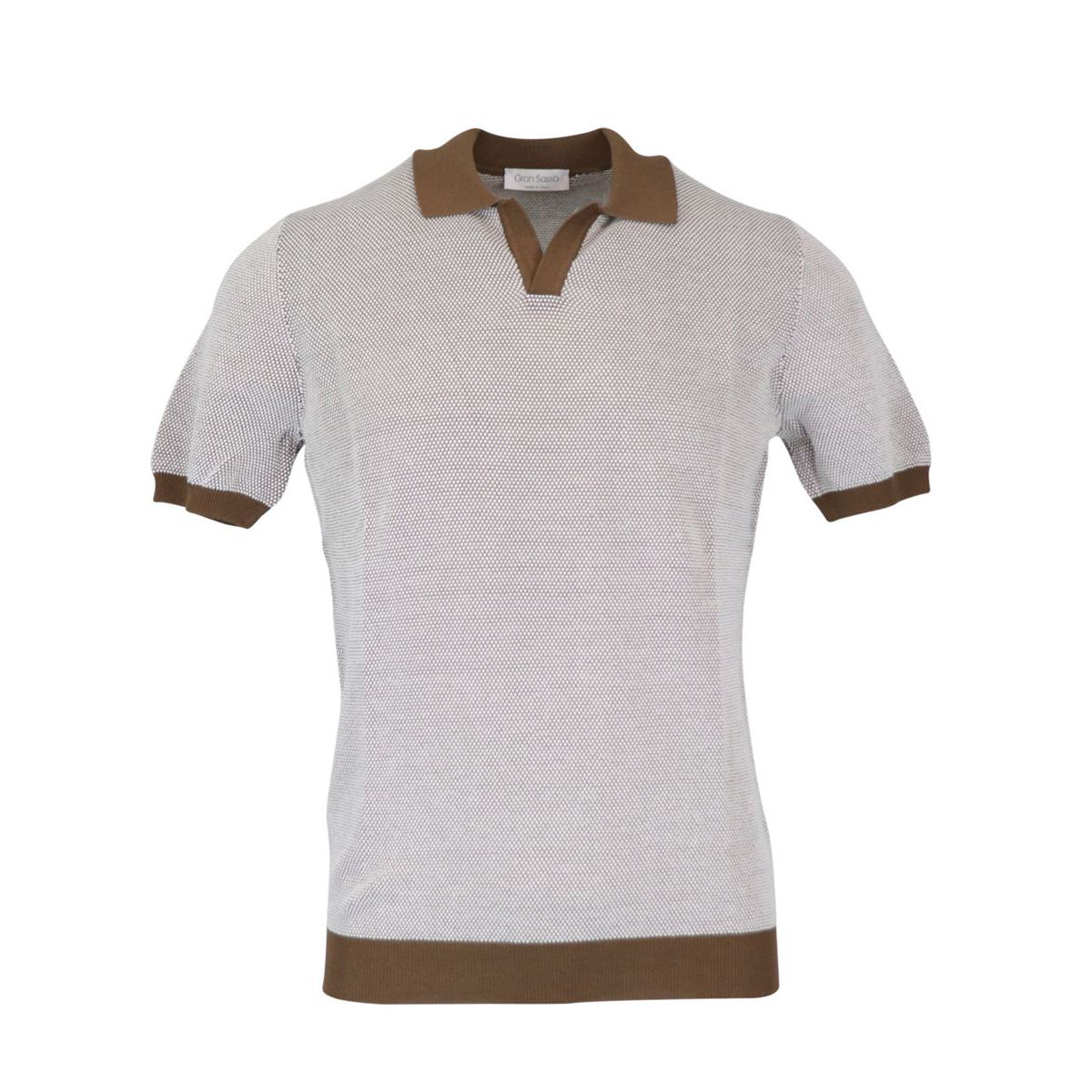 Cotton polo shirt with contrasting piping Brown Gran Sasso