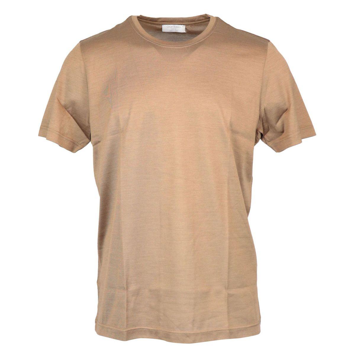 Short-sleeved silk crew-neck t-shirt Brown Gran Sasso
