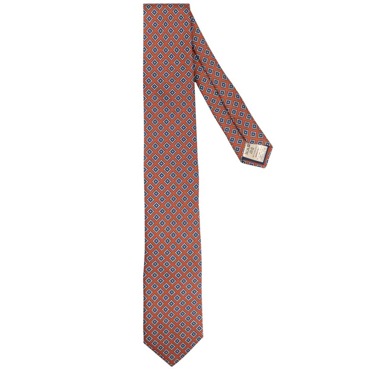 Silk tie with patterned motif Caramel Altea