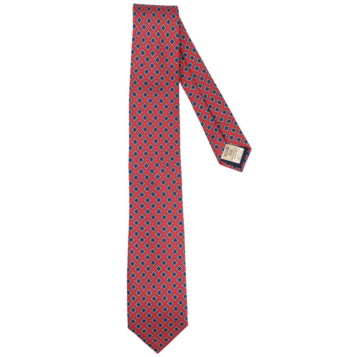 Silk tie with patterned motif Red Altea