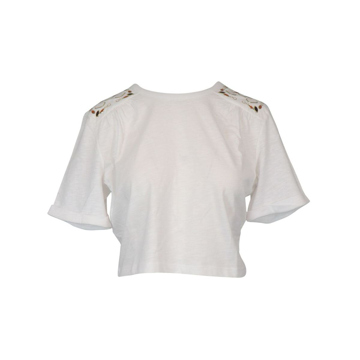 Cropped T-shirt in cotton blend with inserts on the shoulders White Patrizia Pepe