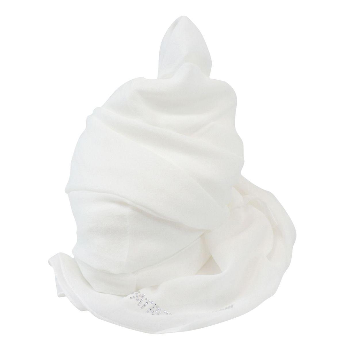 Viscose scarf with rhinestone logo White Patrizia Pepe