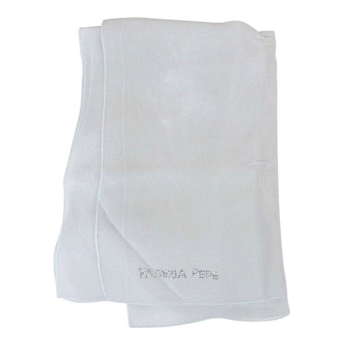 Viscose scarf with rhinestone logo Ivory gray Patrizia Pepe