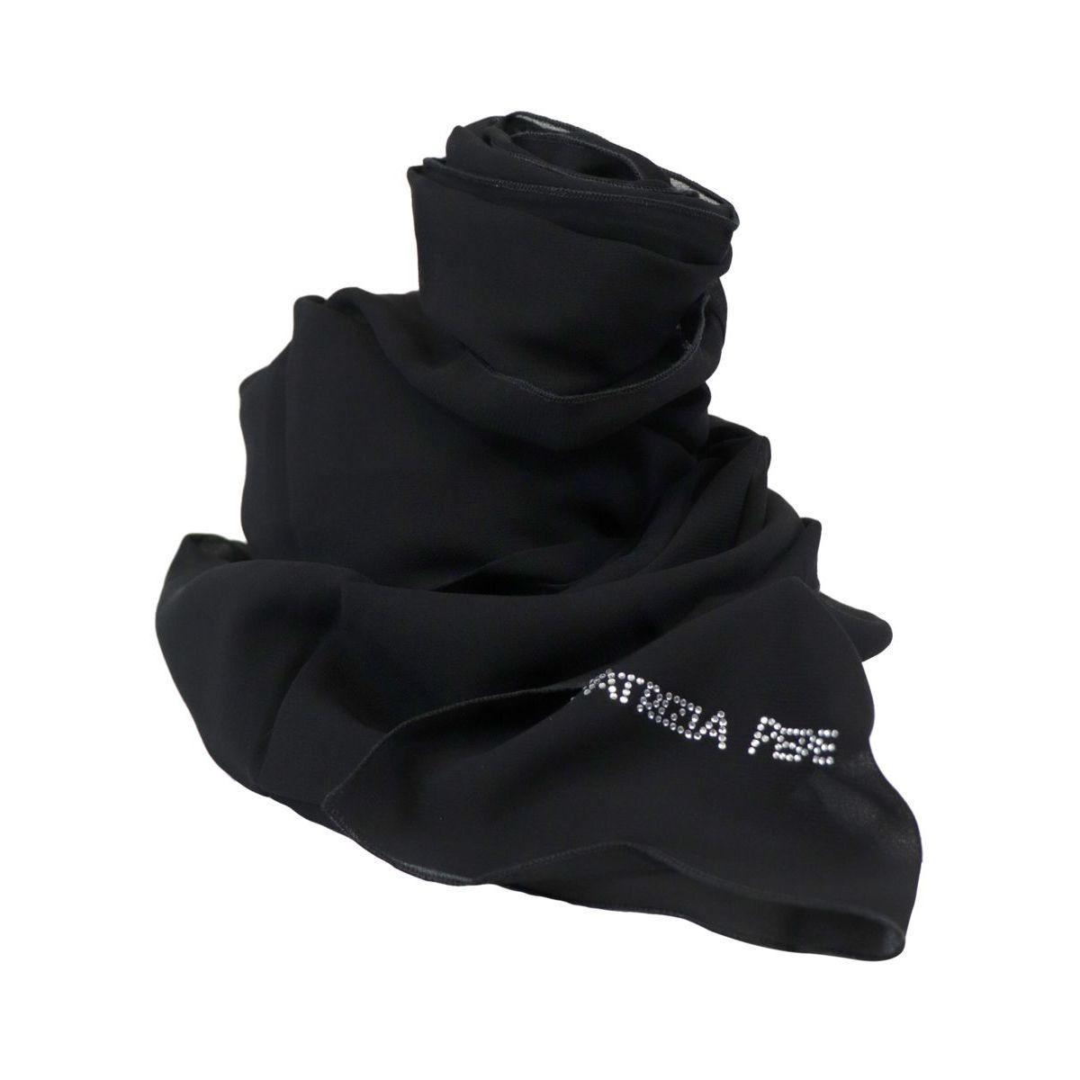 Viscose scarf with rhinestone logo Black Patrizia Pepe