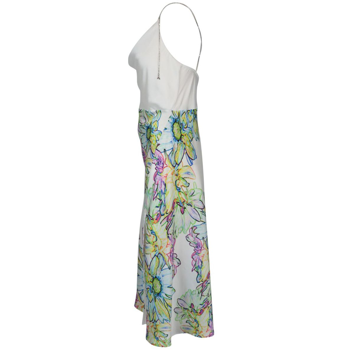 Satin dress with flower print on the skirt and slit Acid flower Patrizia Pepe