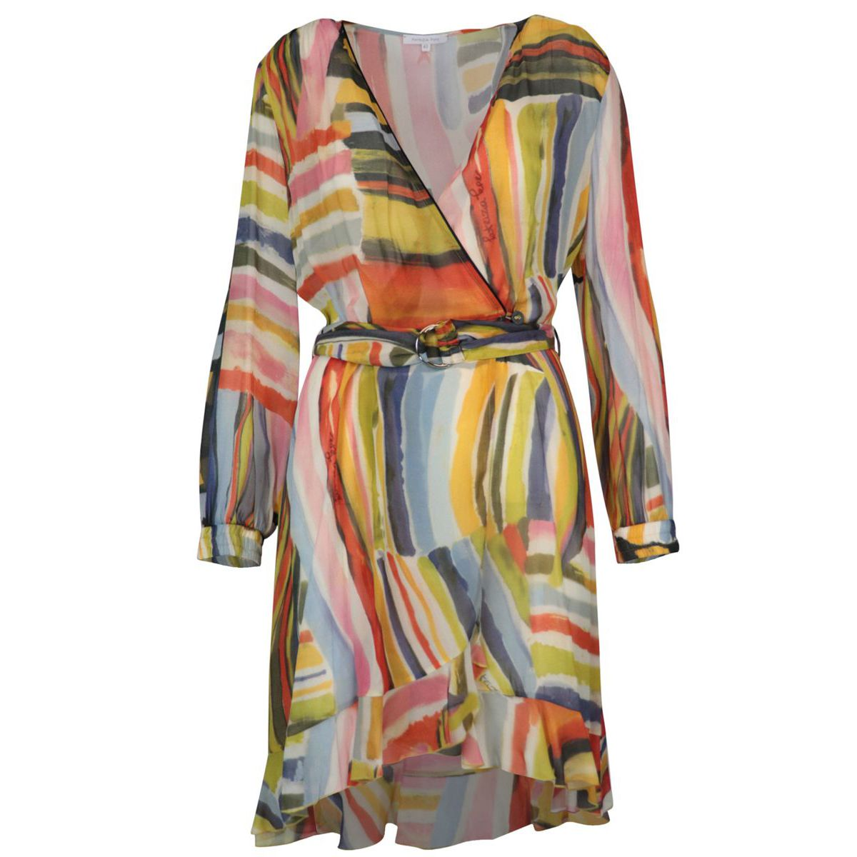 Viscose chiffon dress with multicolor print Colorful print Patrizia Pepe