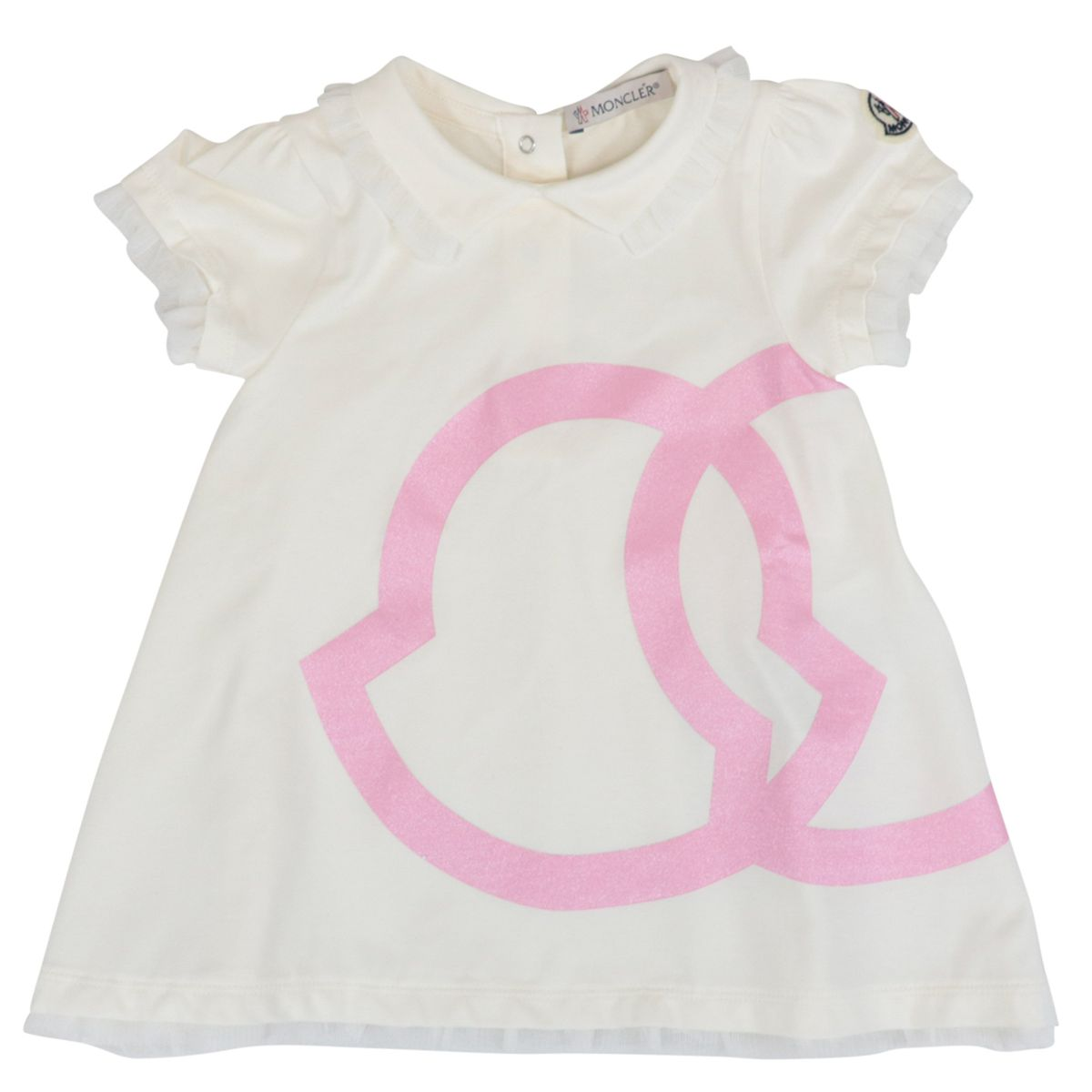 Cotton dress with tulle inserts and glitter logo White Moncler