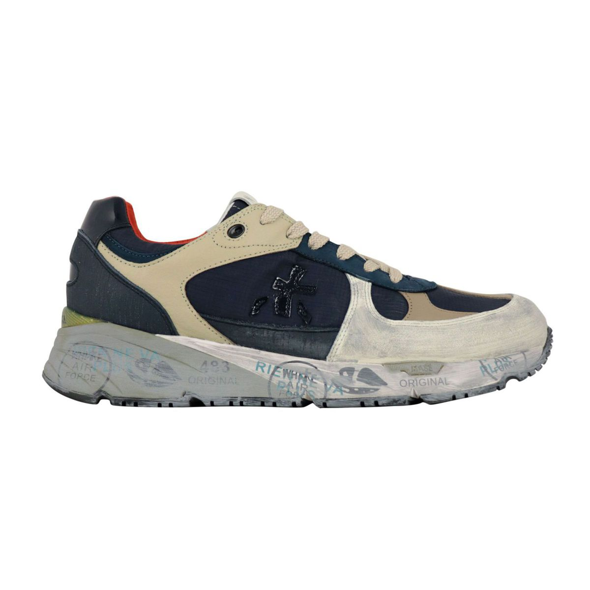 Mase sneakers in leather and technical fabric with painted effect Navy / taupe Premiata