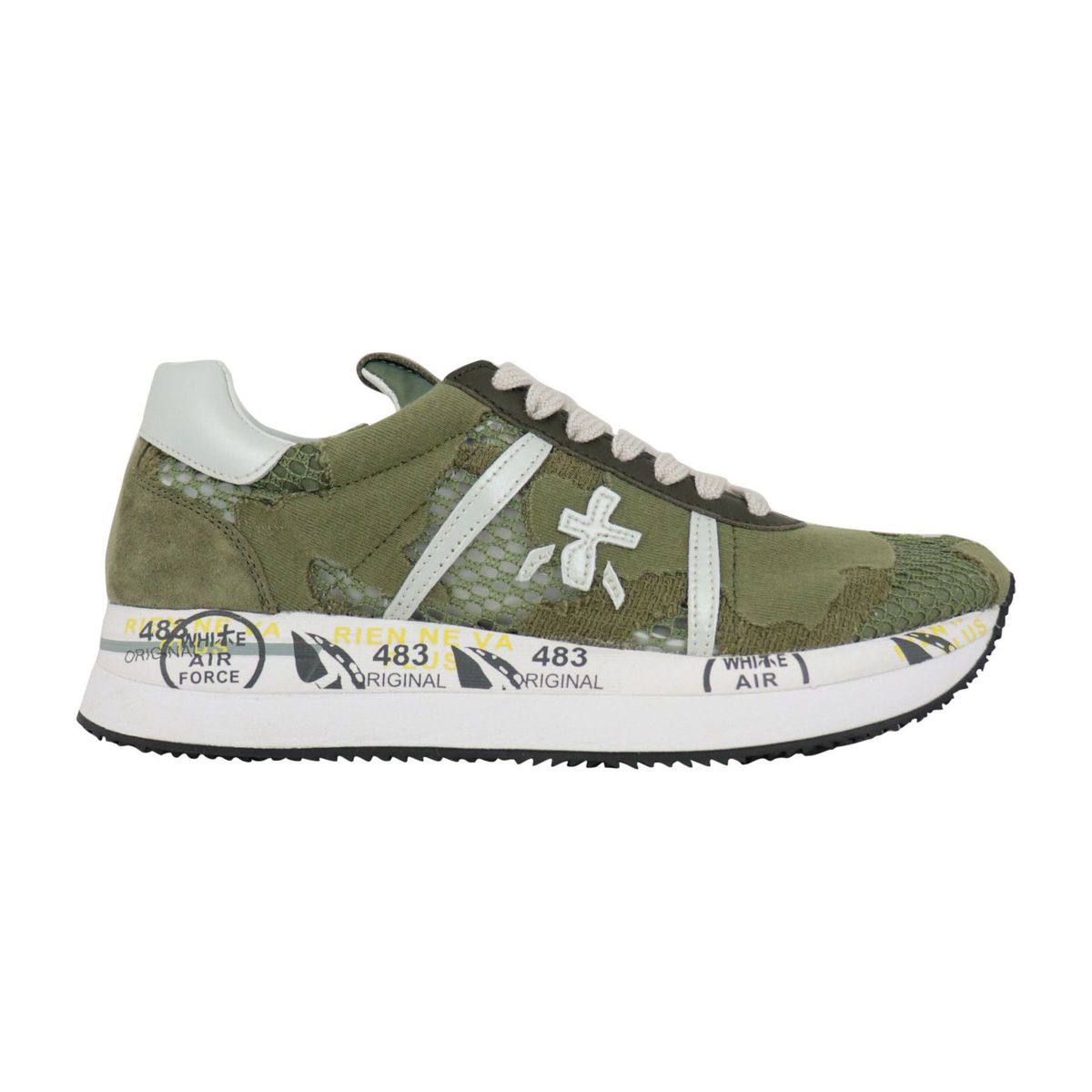 Conny sneakers in leather and lace effect fabric Military Premiata