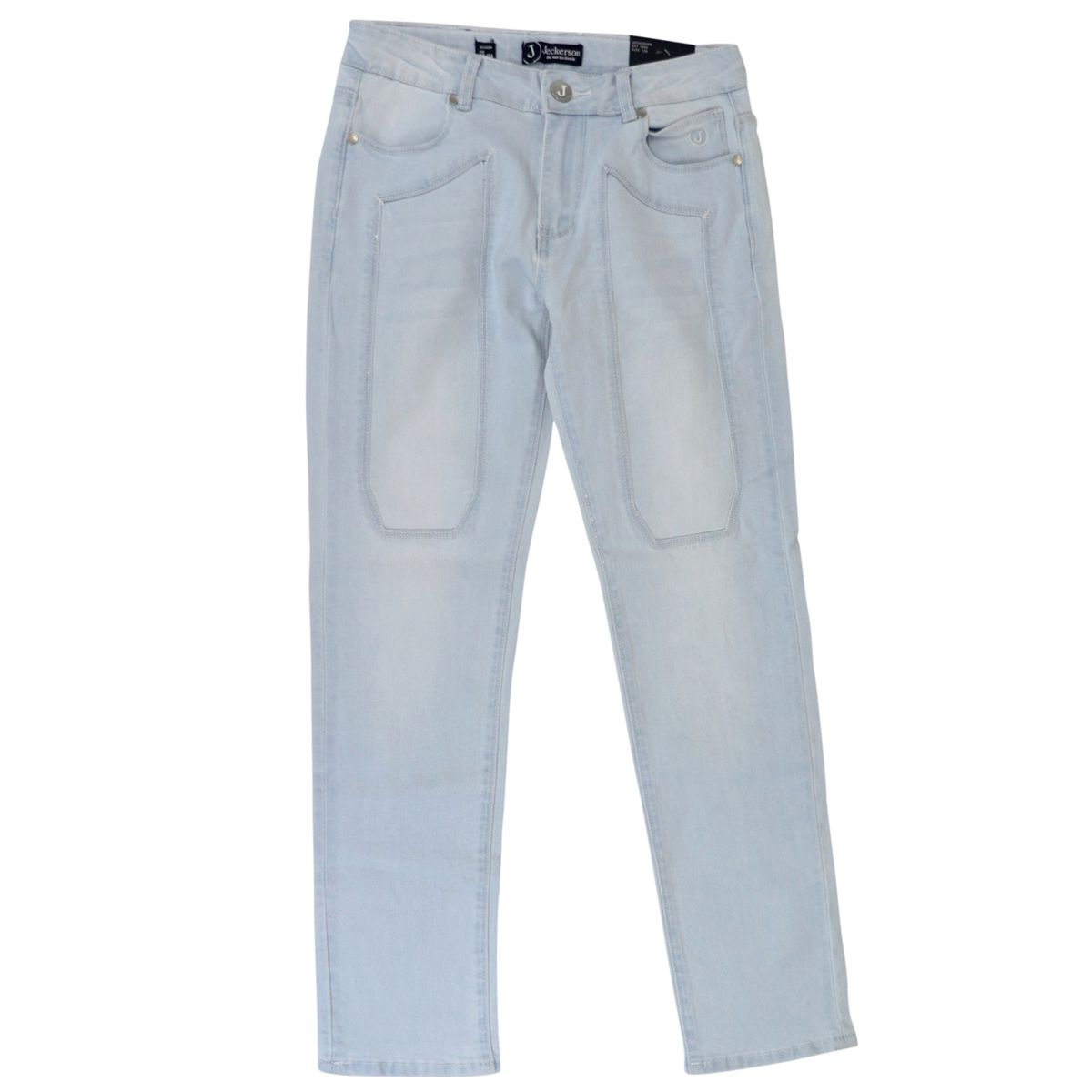 Used-effect denim jeans with patches Light denim Jeckerson