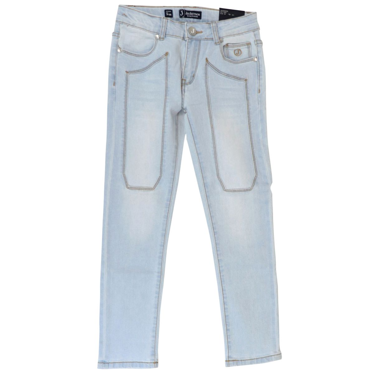 Used denim jeans with front patches Light denim Jeckerson