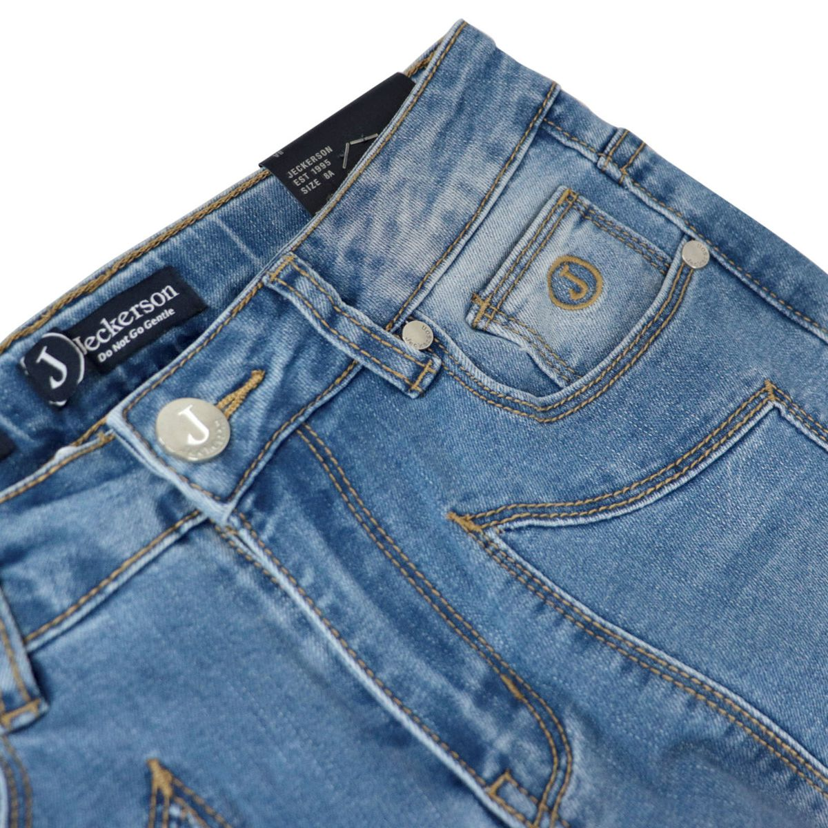 Used denim jeans with front patches Medium denim Jeckerson