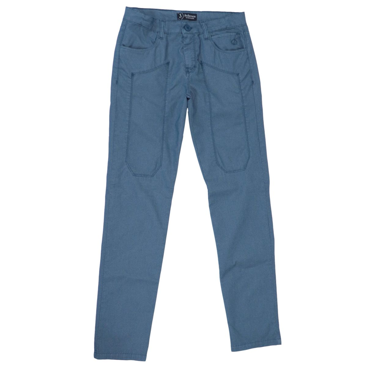 Micro-pattern trousers in cotton with patches Royal Jeckerson