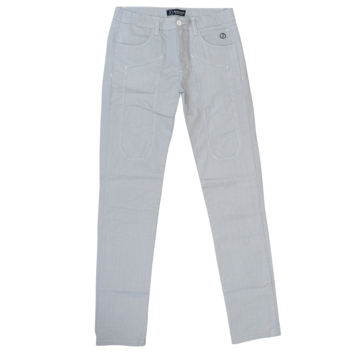 Micro-patterned cotton trousers with patches Fantasy white Jeckerson