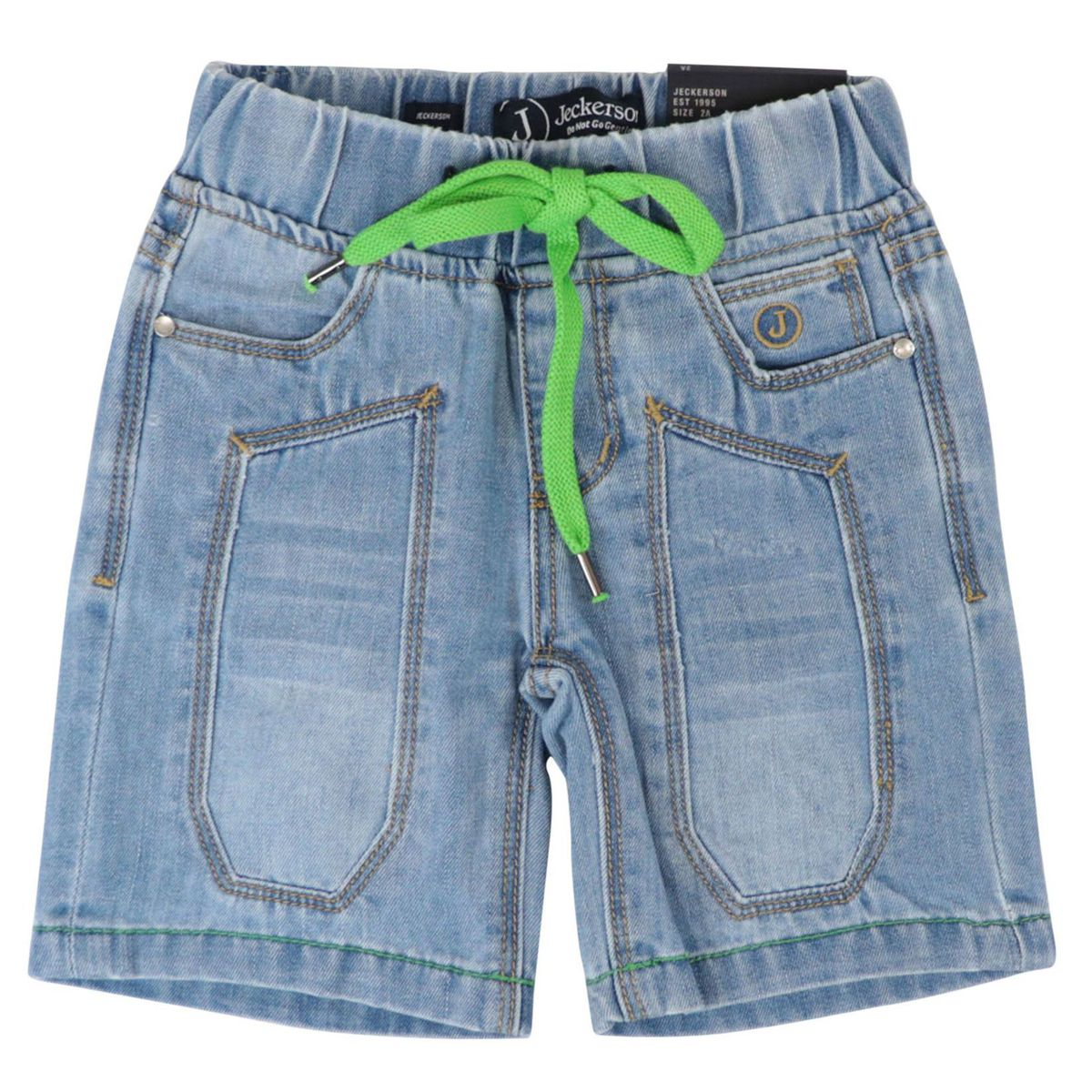 Denim bermuda with patch and neon lace Denim Jeckerson