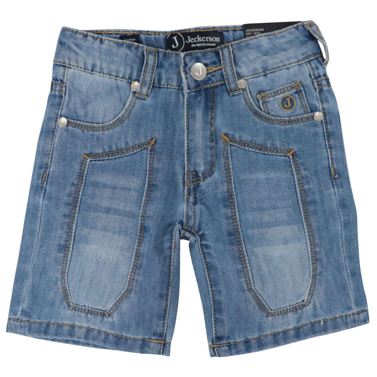 Baby denim bermuda with patch Medium denim Jeckerson