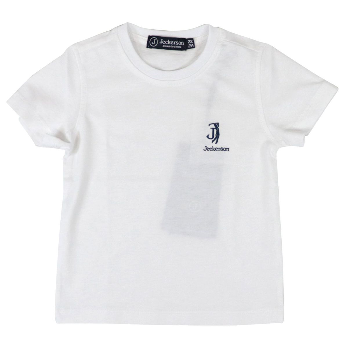 Short-sleeved cotton baby T-shirt with embroidered logo White / blue Jeckerson