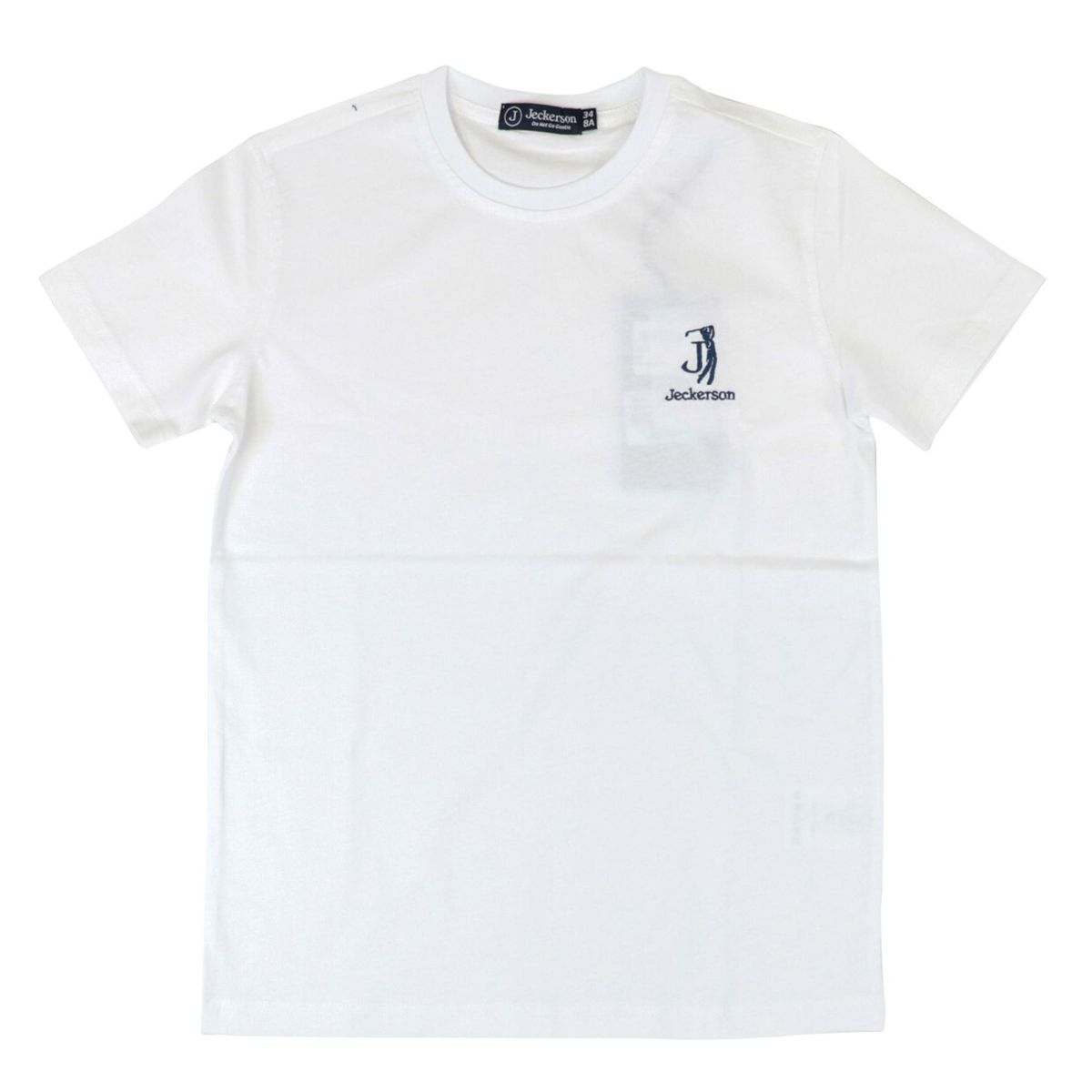 Short-sleeved cotton T-shirt with embroidered logo White / blue Jeckerson