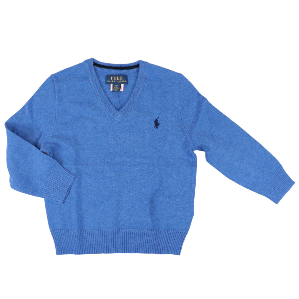 Classic cotton pullover with V-neck and logo Dockside blue Polo Ralph Lauren