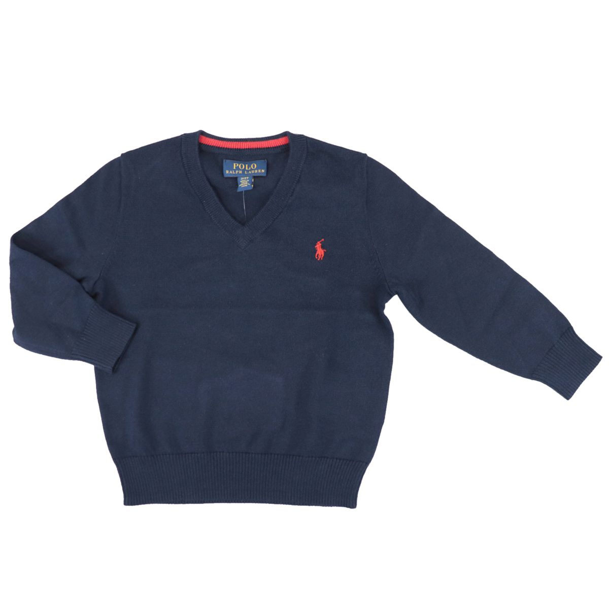 Classic cotton pullover with V-neck and logo Navy Polo Ralph Lauren