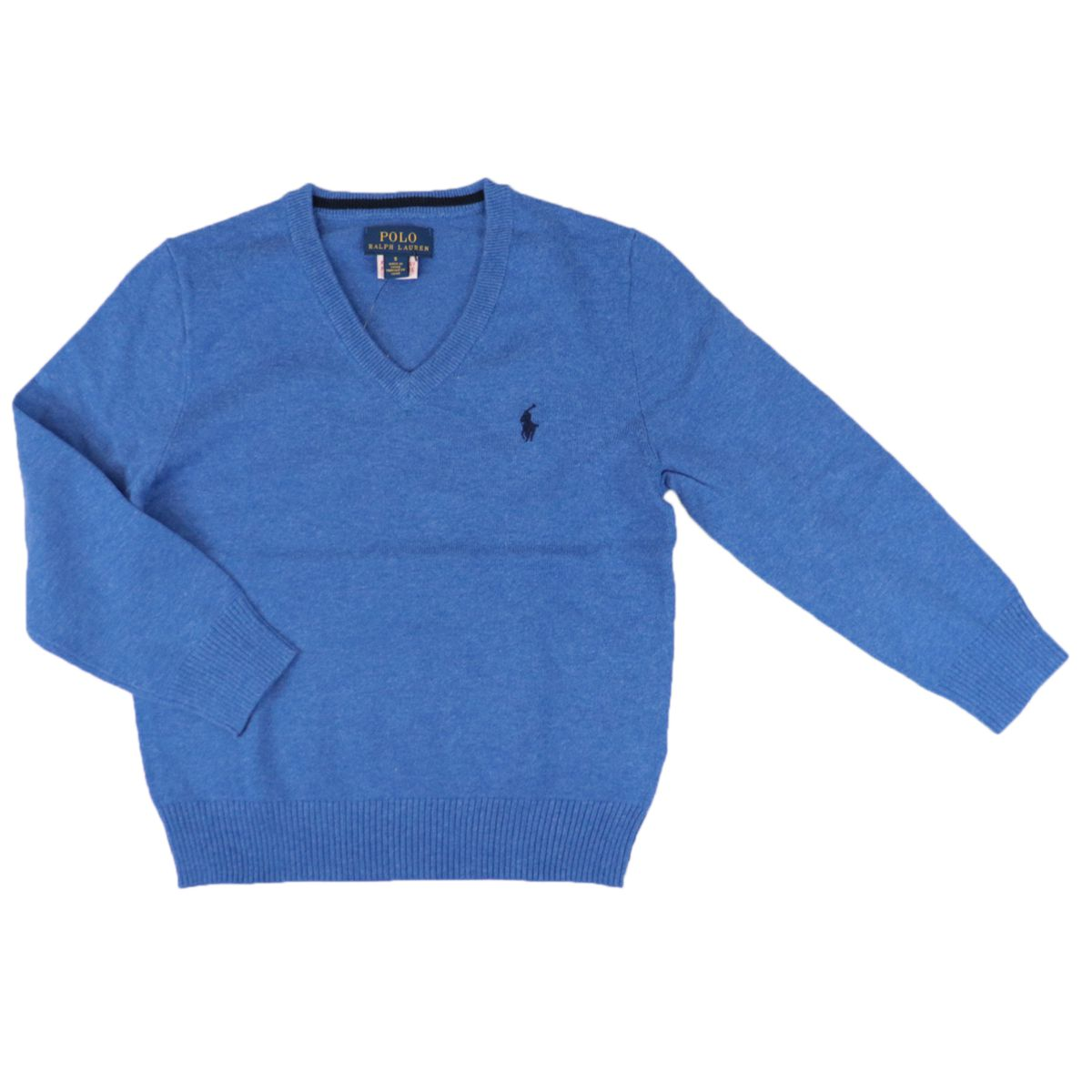 Cotton pullover with logo embroidery and V-neck Dockside blue Polo Ralph Lauren