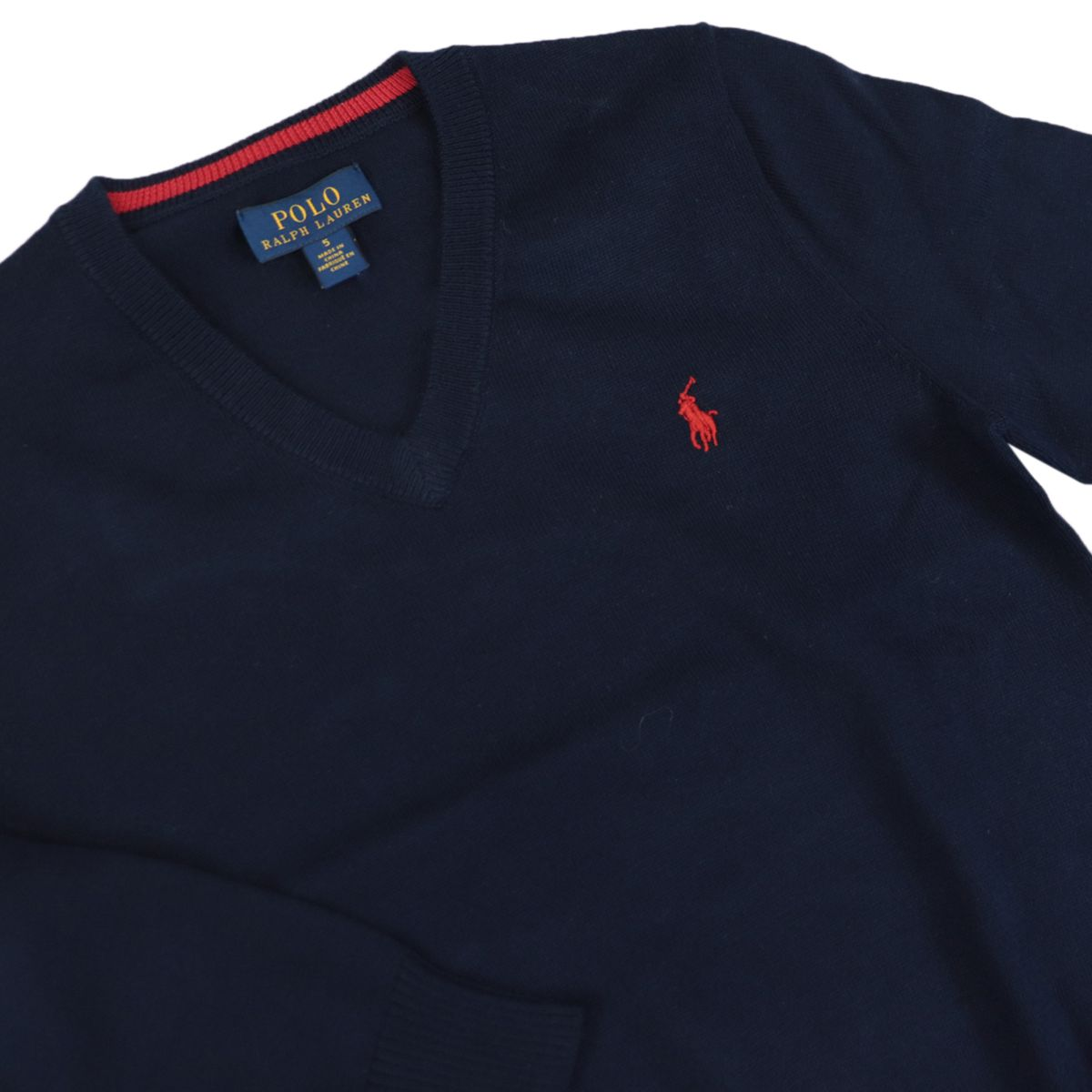 Cotton pullover with logo embroidery and V-neck Navy Polo Ralph Lauren