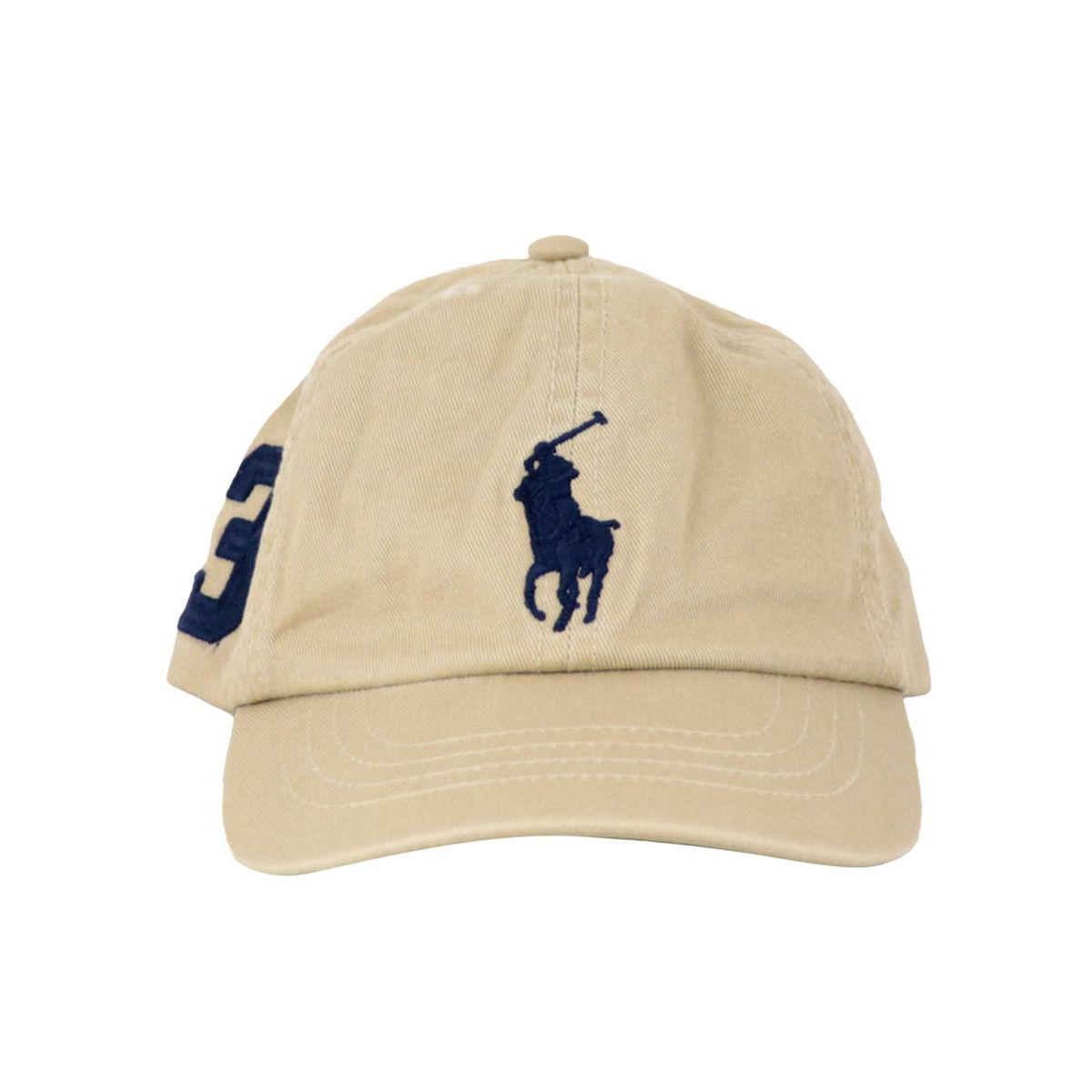 Cotton peaked hat with maxi logo embroidery Kaki Polo Ralph Lauren