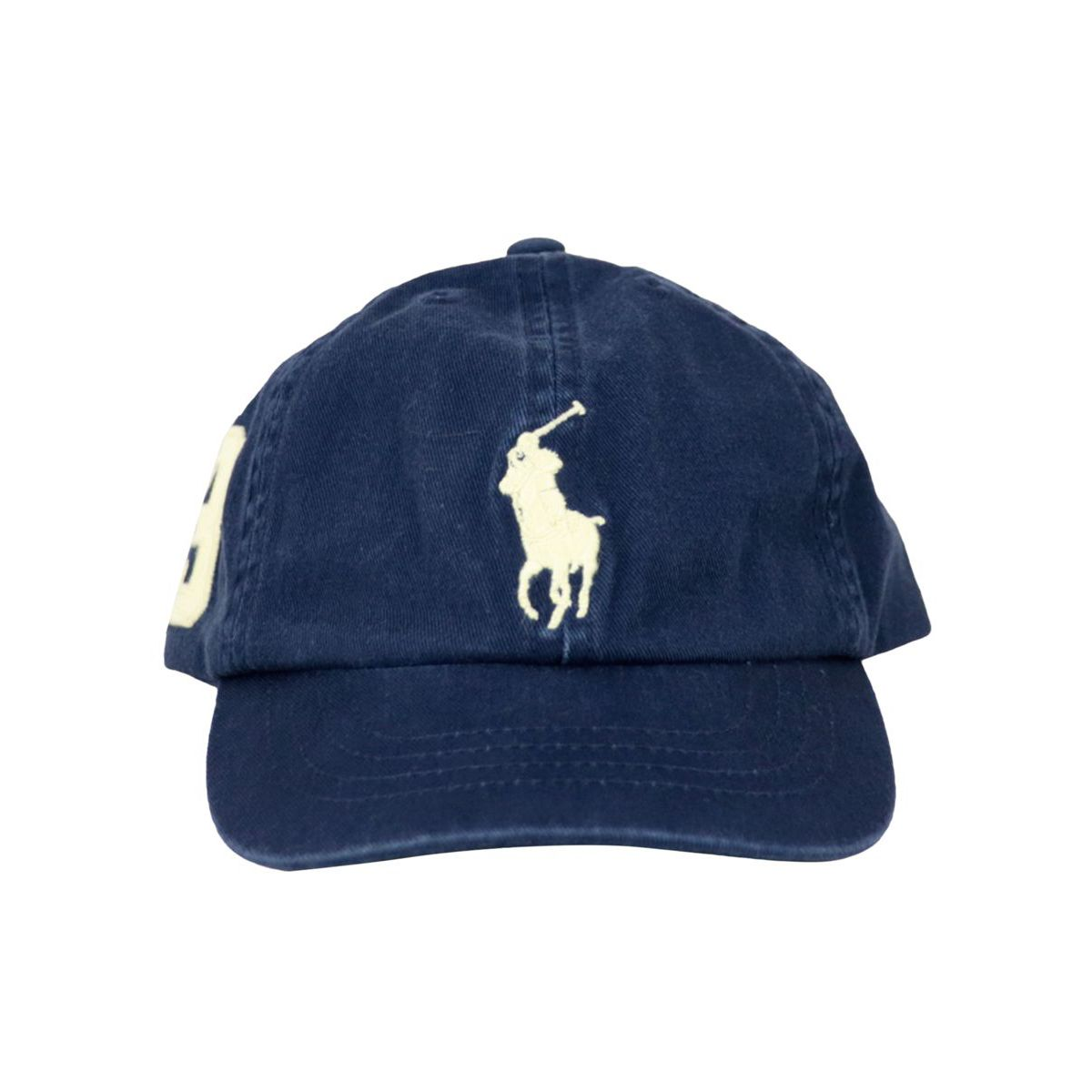Cotton peaked hat with maxi logo embroidery Navy Polo Ralph Lauren
