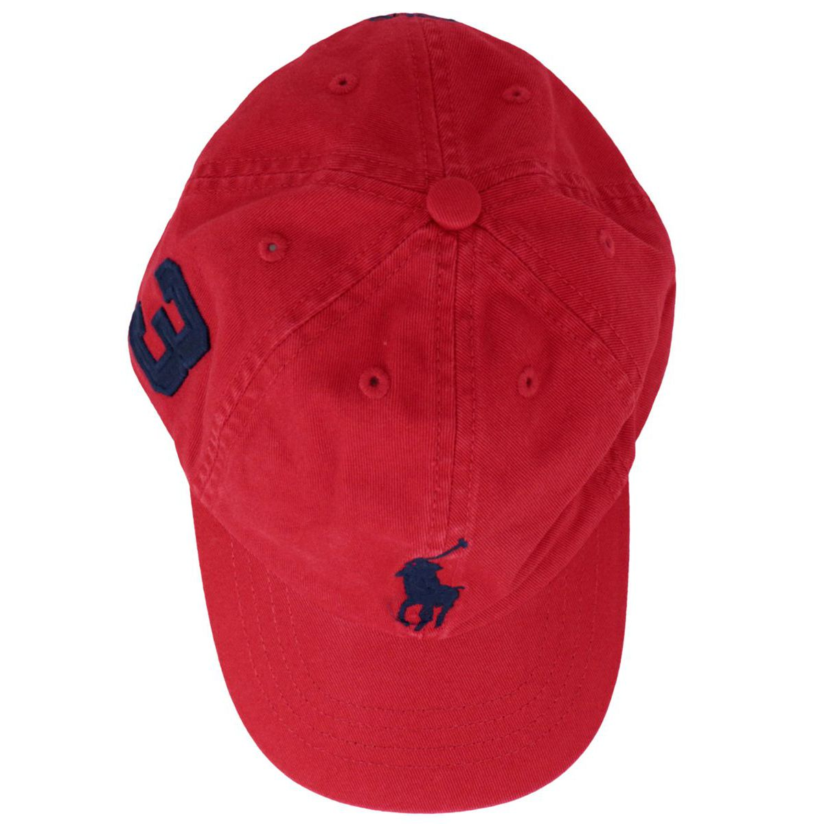 Cotton peaked hat with maxi logo embroidery Red Polo Ralph Lauren