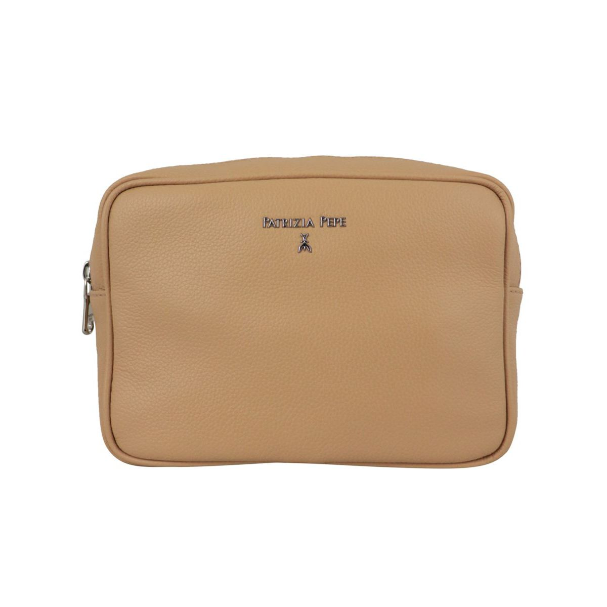 Beauty in textured leather with logo Beige Patrizia Pepe