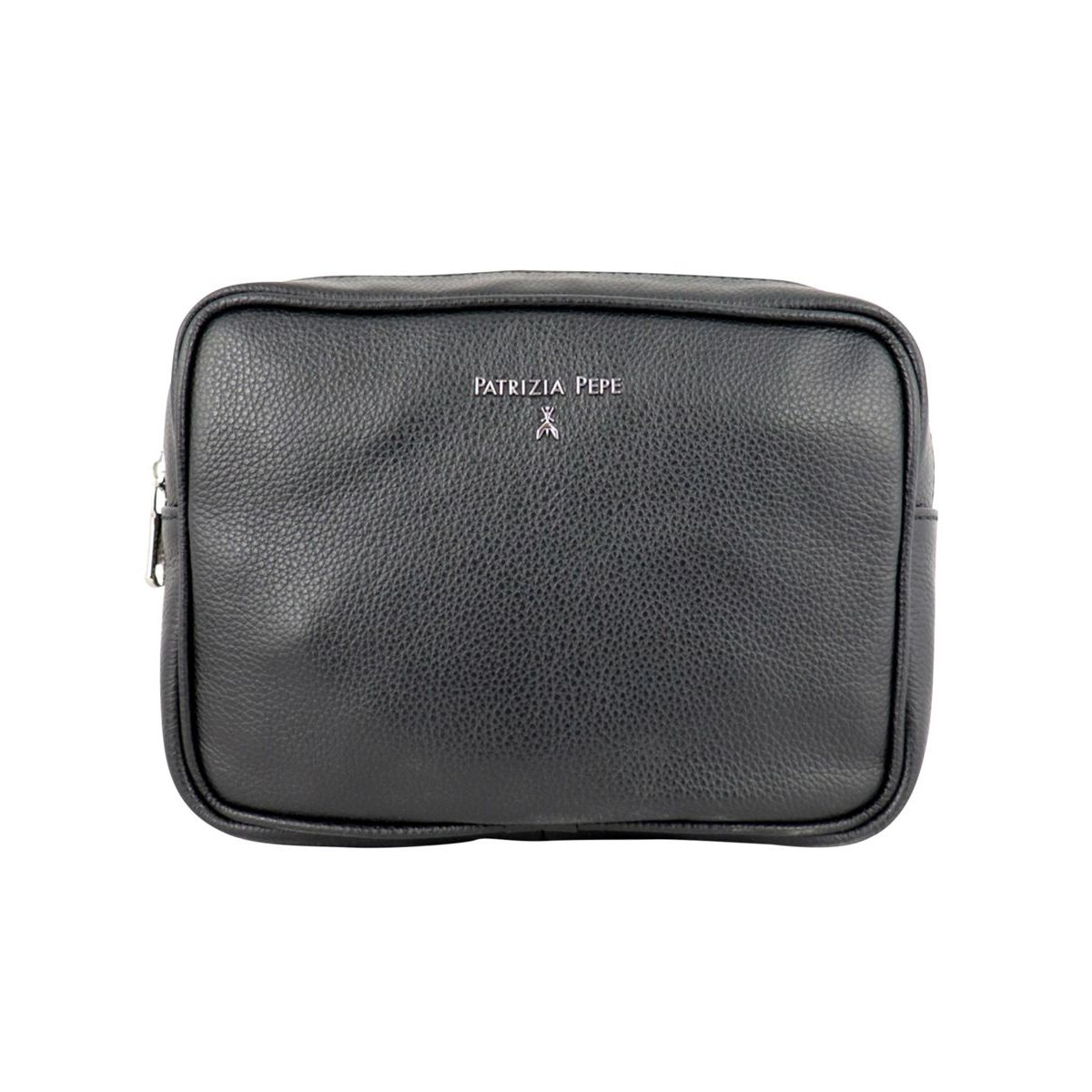 Beauty in textured leather with logo Black Patrizia Pepe