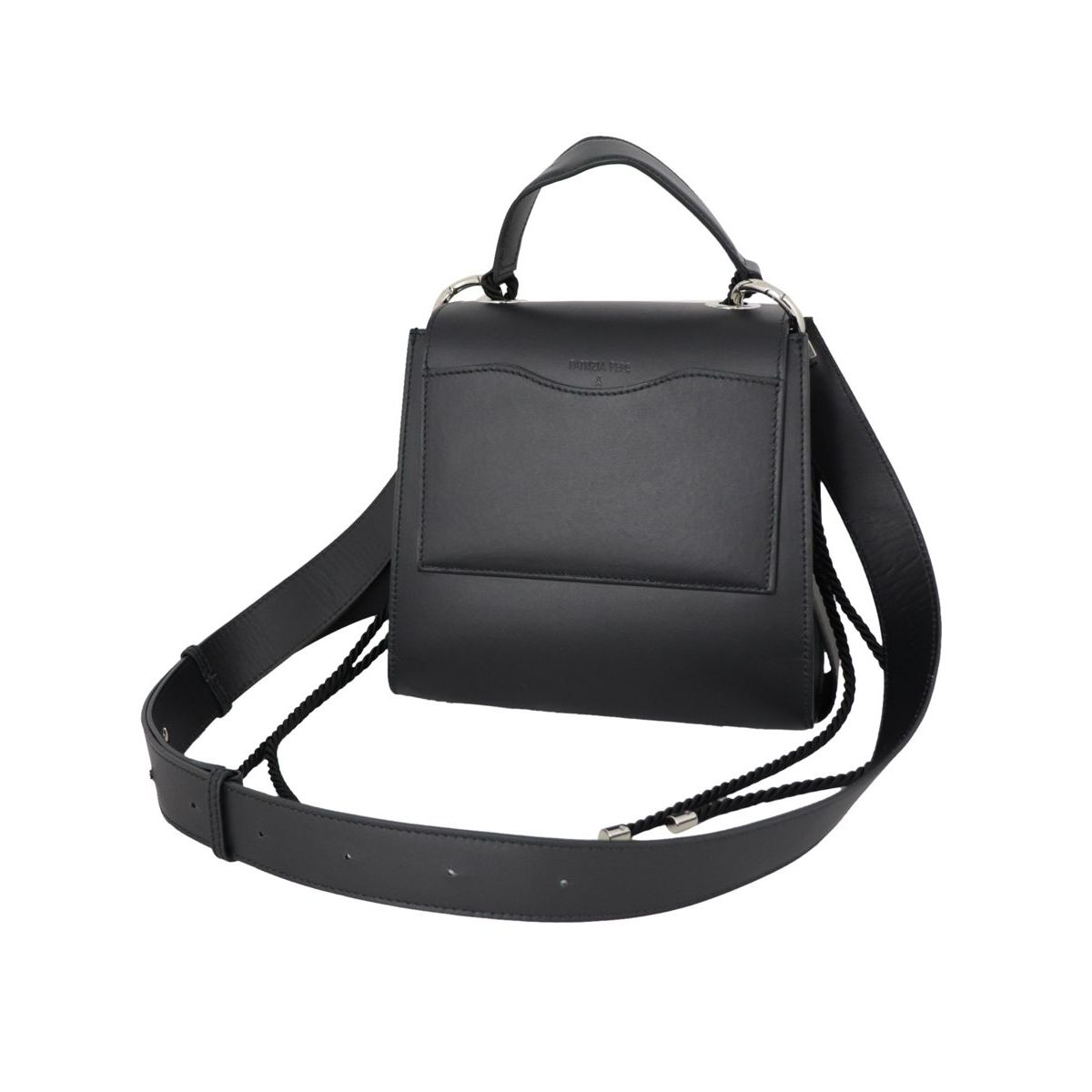 Leather handbag with cords Black Patrizia Pepe