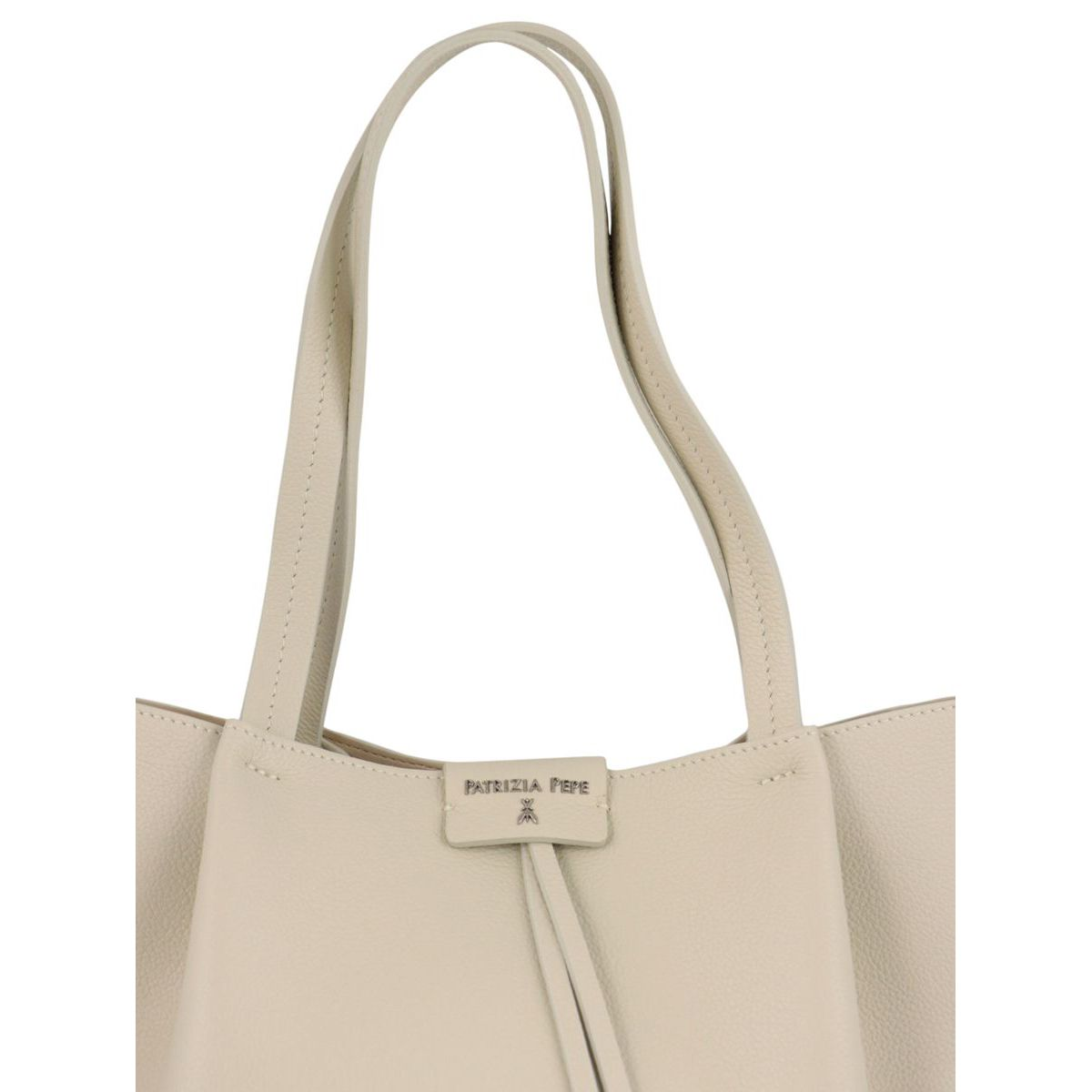 Shopper bag in cowhide leather with logo Ivory Patrizia Pepe