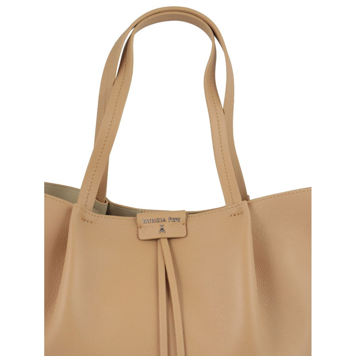 Shopper bag in cowhide leather with logo Beige Patrizia Pepe