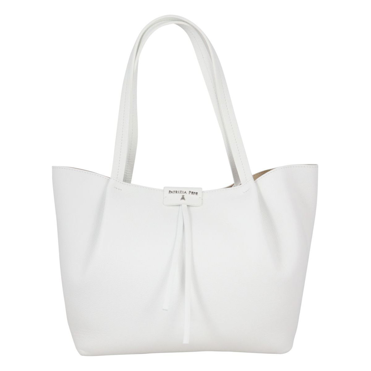 Shopper bag in cowhide leather with logo White Patrizia Pepe