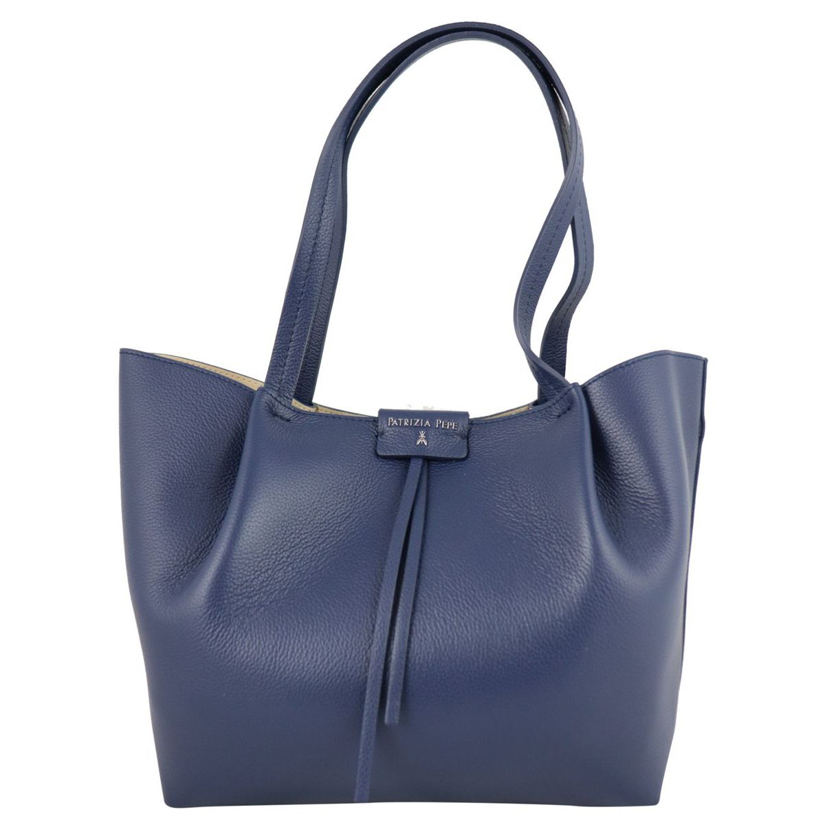 Shopper bag in cowhide leather with logo Blue Patrizia Pepe