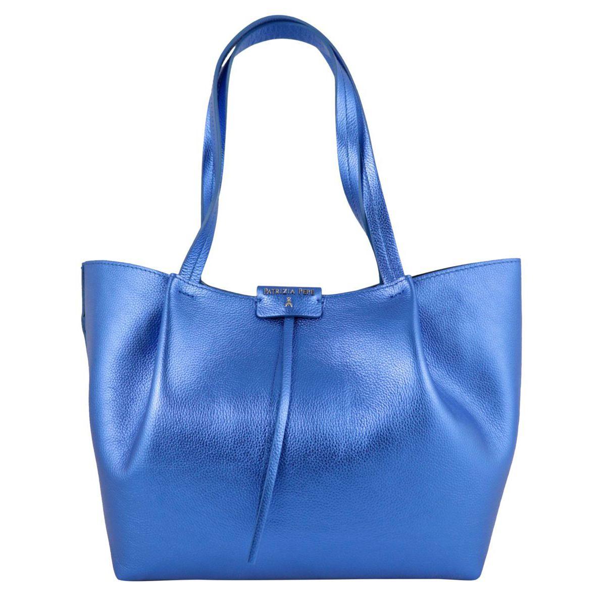 Shopper bag in cowhide leather with logo Bluette Patrizia Pepe