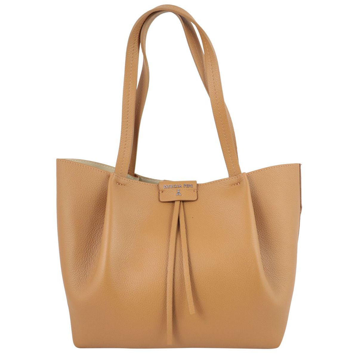 Shopper bag in cowhide leather with logo Leather Patrizia Pepe