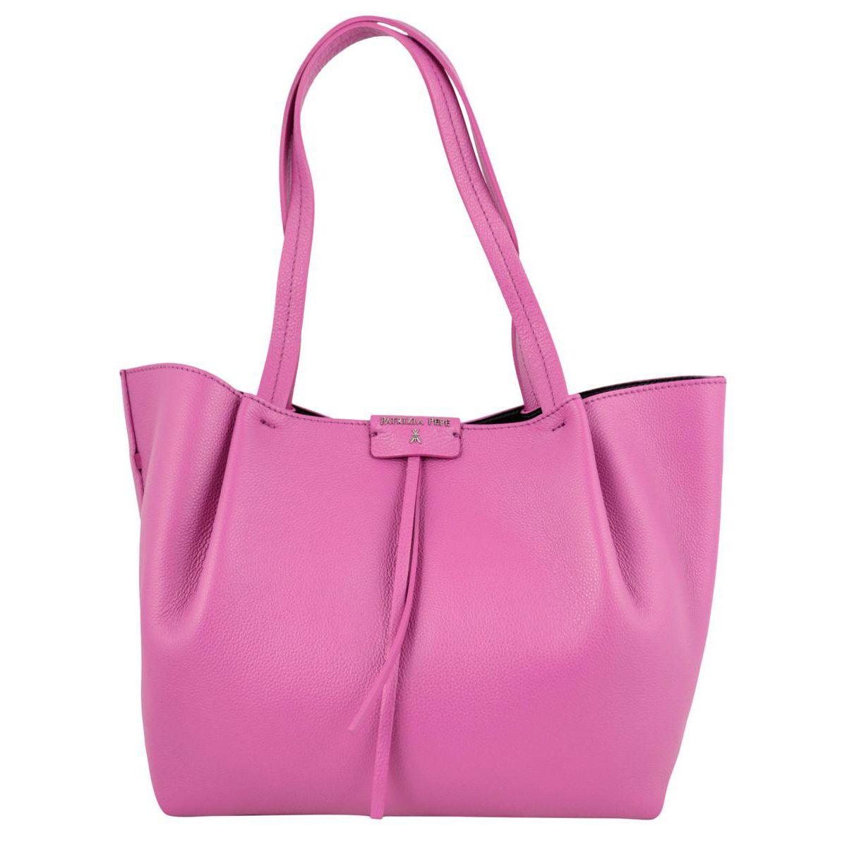 Shopper bag in cowhide leather with logo Fuchsia Patrizia Pepe
