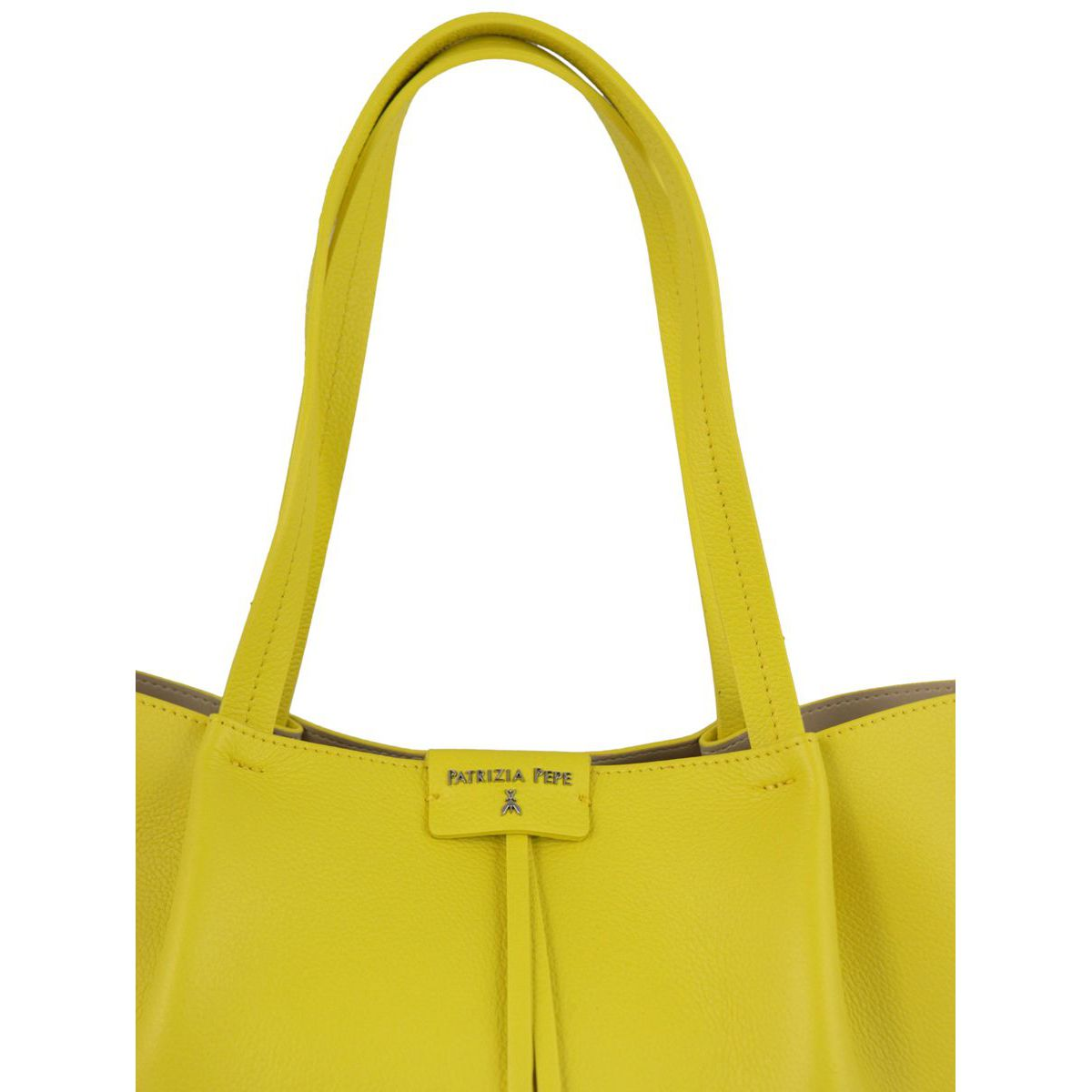 Shopper bag in cowhide leather with logo Yellow Patrizia Pepe